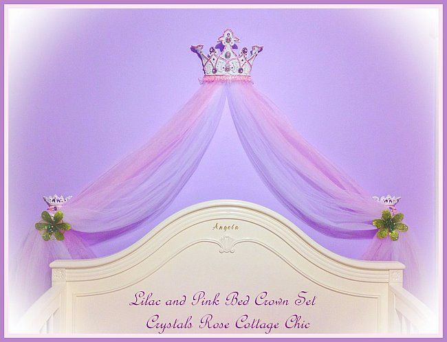 Items similar to Pink Princess Tutu Bed Crown Canopy Set Ballerina Ballet Girls Room Decor Nursery Baby Pink Rhinestone Shabby Chic Custom Colors Photo Prop ...  sc 1 st  Pinterest & Lilac and Pink Princess Bed Crown Set | Shabby ChicRomantic ...
