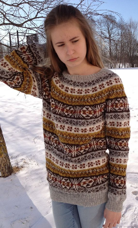 Fair Isle sweater Alpaca sweater Women's sweater Hand knit sweater ...