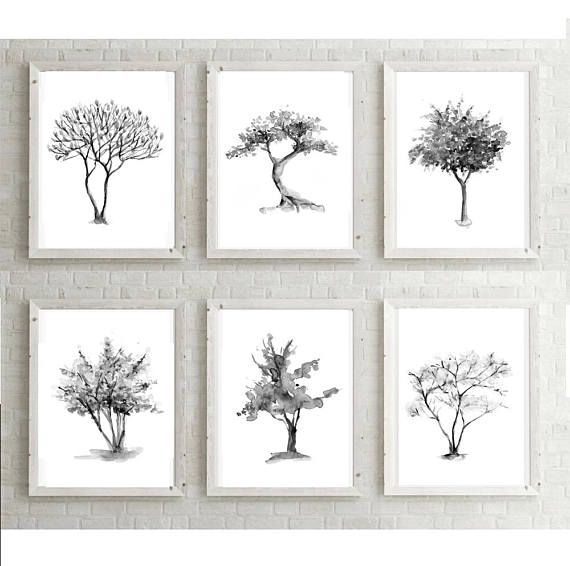 Tree art set of 6 trees tree watercolor painting 6 prints home