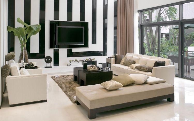 Entzuckend Wandgestaltung In Schwarz Und Weiß  Wohnzimmer Streifen Fernseher Couch  Beige
