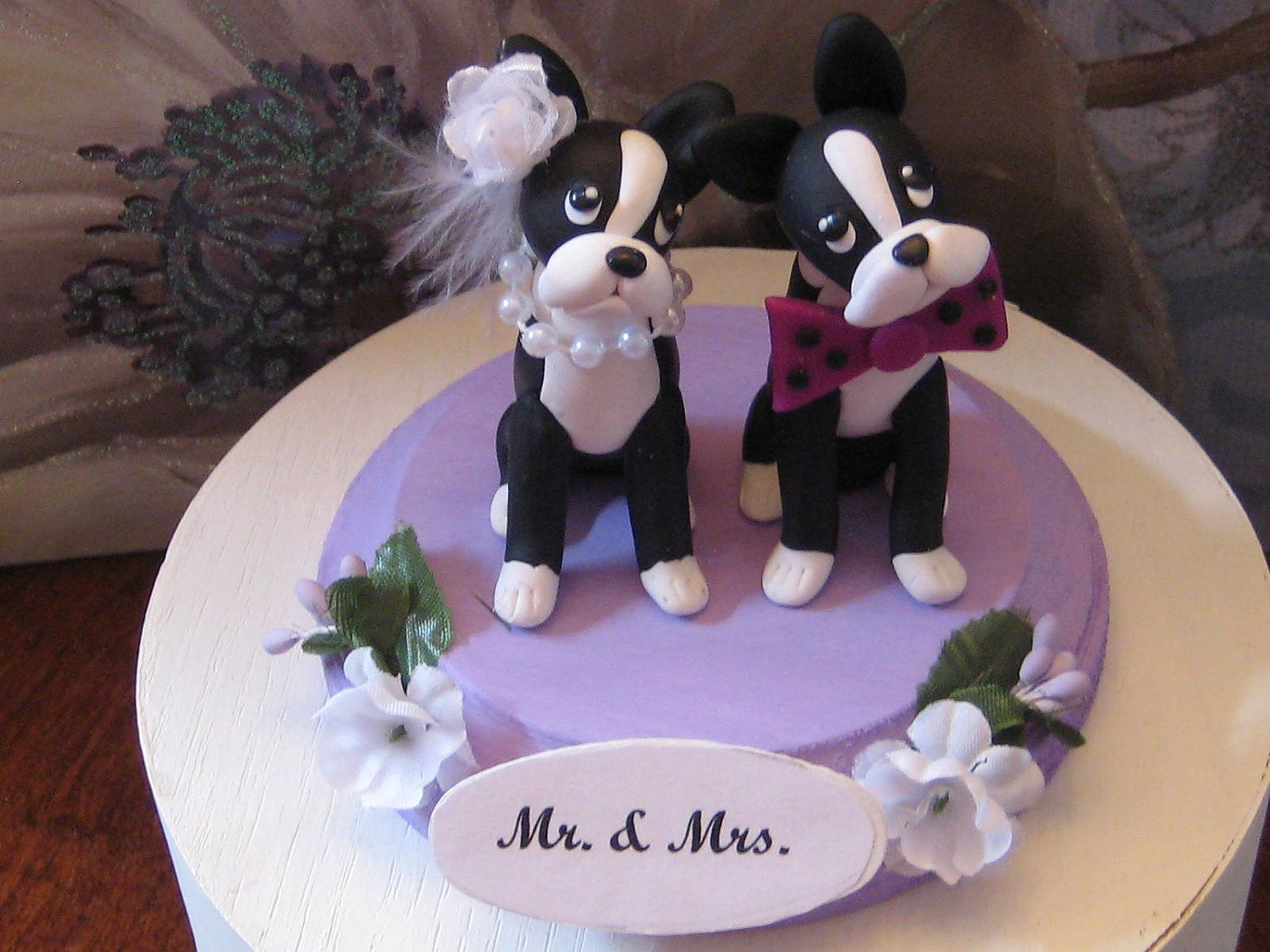Boston terrier love struck dogs wedding anniversary shower bridal