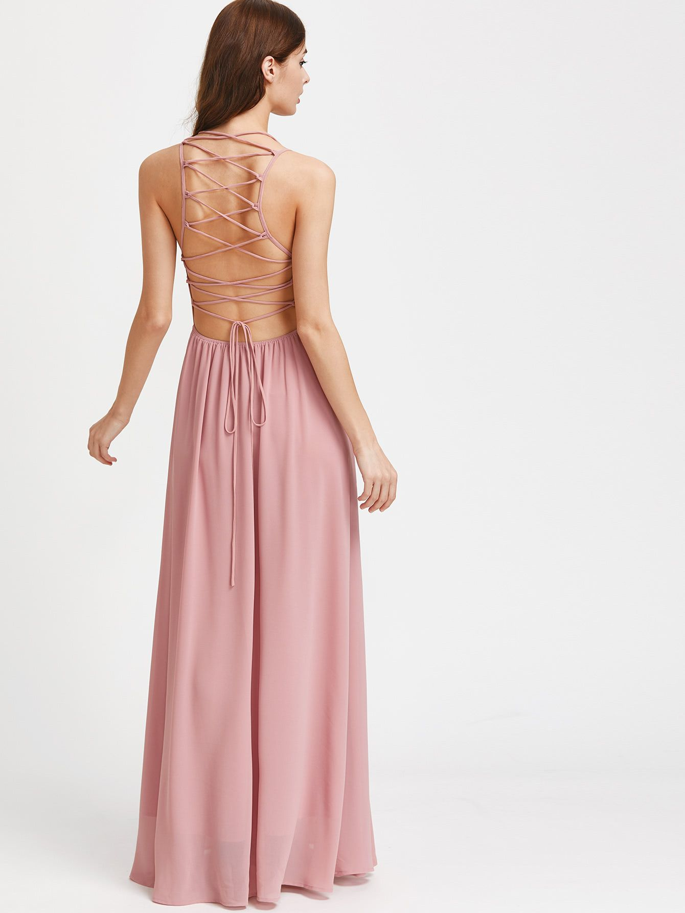 Double strap lace up back maxi dress shop mores and straps