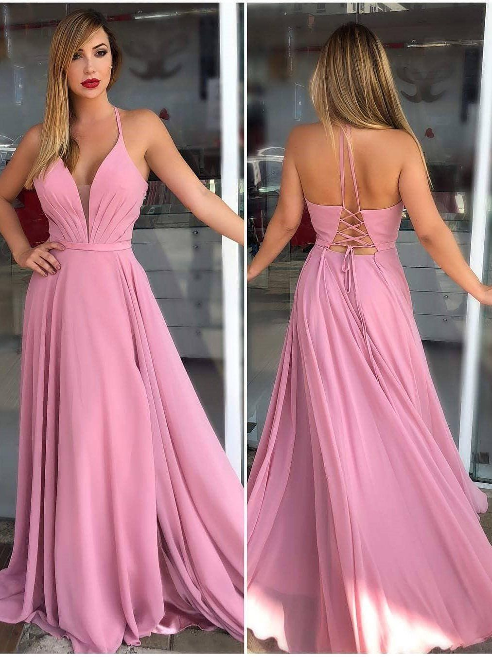 Spaghetti strap halter dusty rose prom dresses cheap backelss formal