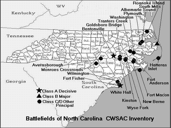 North Carolina Civil War Battles The Civil War - Us map civil war battles