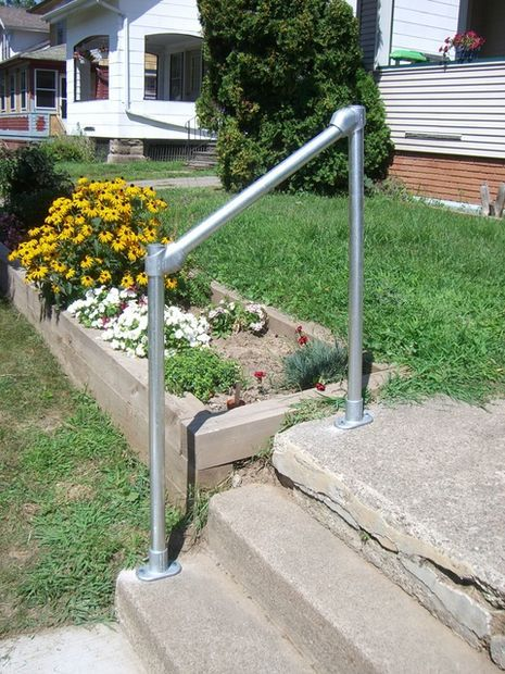 How To Build A Simple Handrail Step Railing Outdoor Outdoor | Outdoor Stair Railing Installation | Balcony | Steel | Metal | Patio | Residential