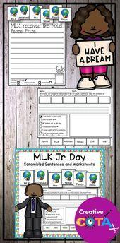 MLK Day Writing Scrambled Sentences and Build a Sentence Worksheets MLK Day Writing Scrambled Sentences and Build a Sentence Worksheets