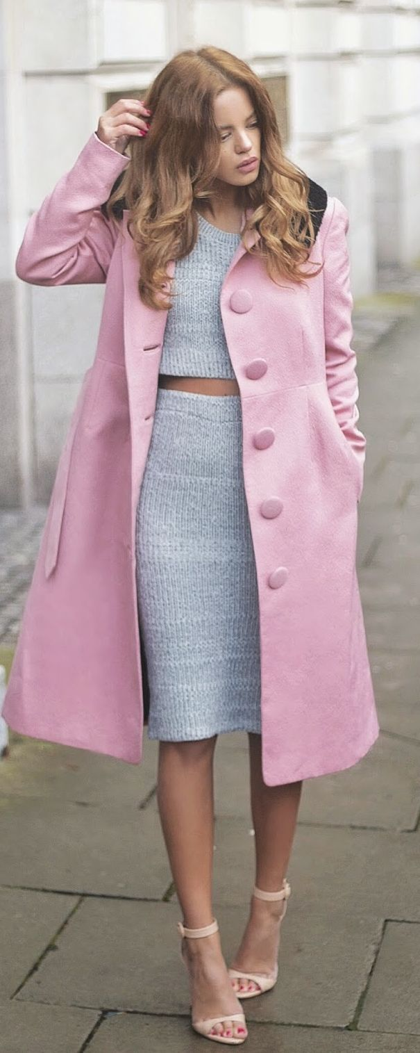 Pink And Grey Chic Style by Nada Adellè