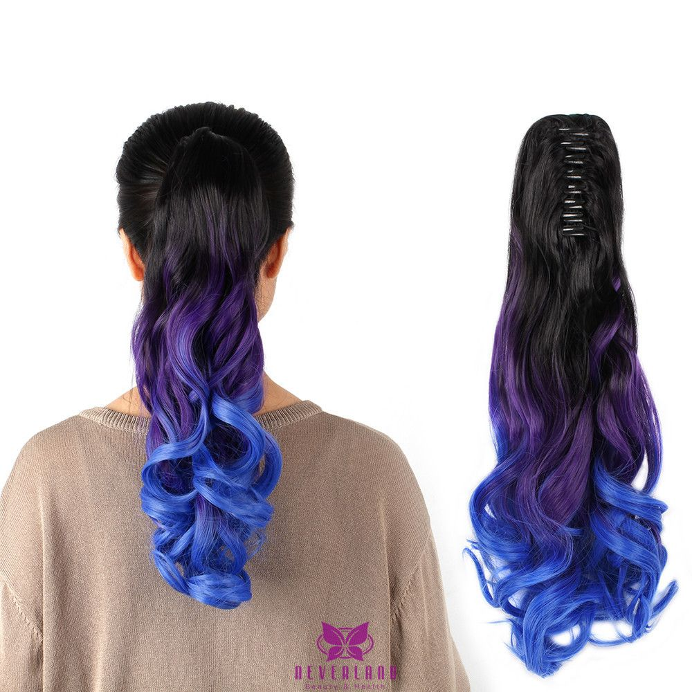 Ombre Three Tone Ponytail Hair 2050cm Long Jaw Claw Style