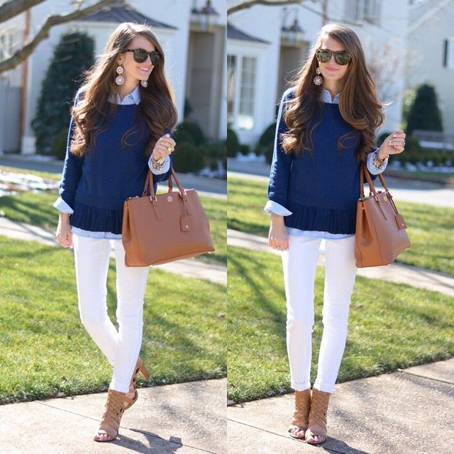Love the navy sweater and white pants!