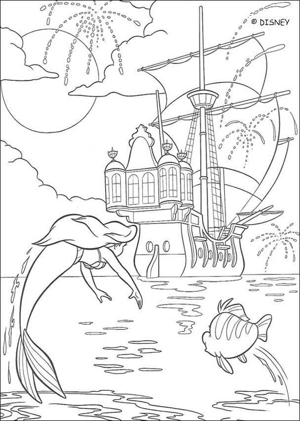 The Little Mermaid Coloring Pages Fireworks Ariel
