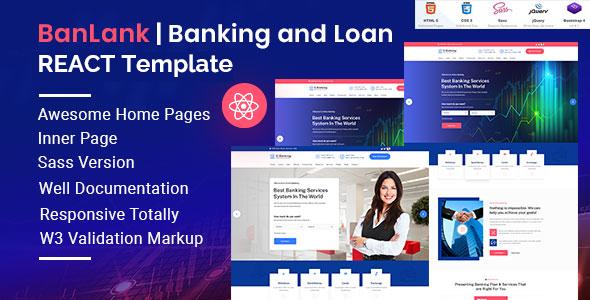 Download Banlank Banking And Loan React Template On Themeforest Banking Html Templates Templates