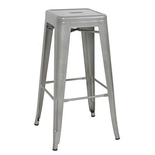 Enjoyable Caraya Modern Industrial Backless Metal Bar Stools Silver 30 Inzonedesignstudio Interior Chair Design Inzonedesignstudiocom