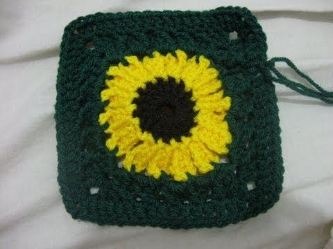 How to Crochet a Sunflower Granny square - YouTube | Battaniye ...
