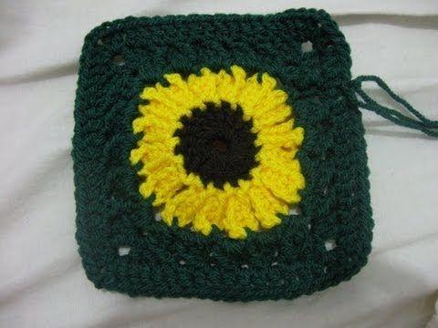 How to Crochet a Sunflower Granny square - YouTube | Crochet ...