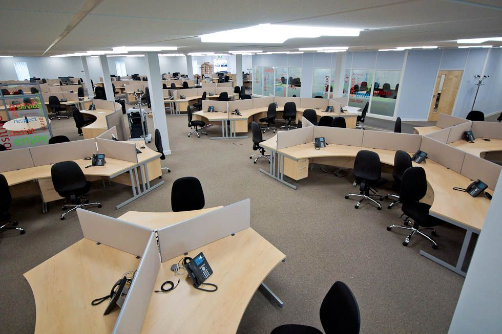 Interior modern call centre office interior design for Modern tech office design
