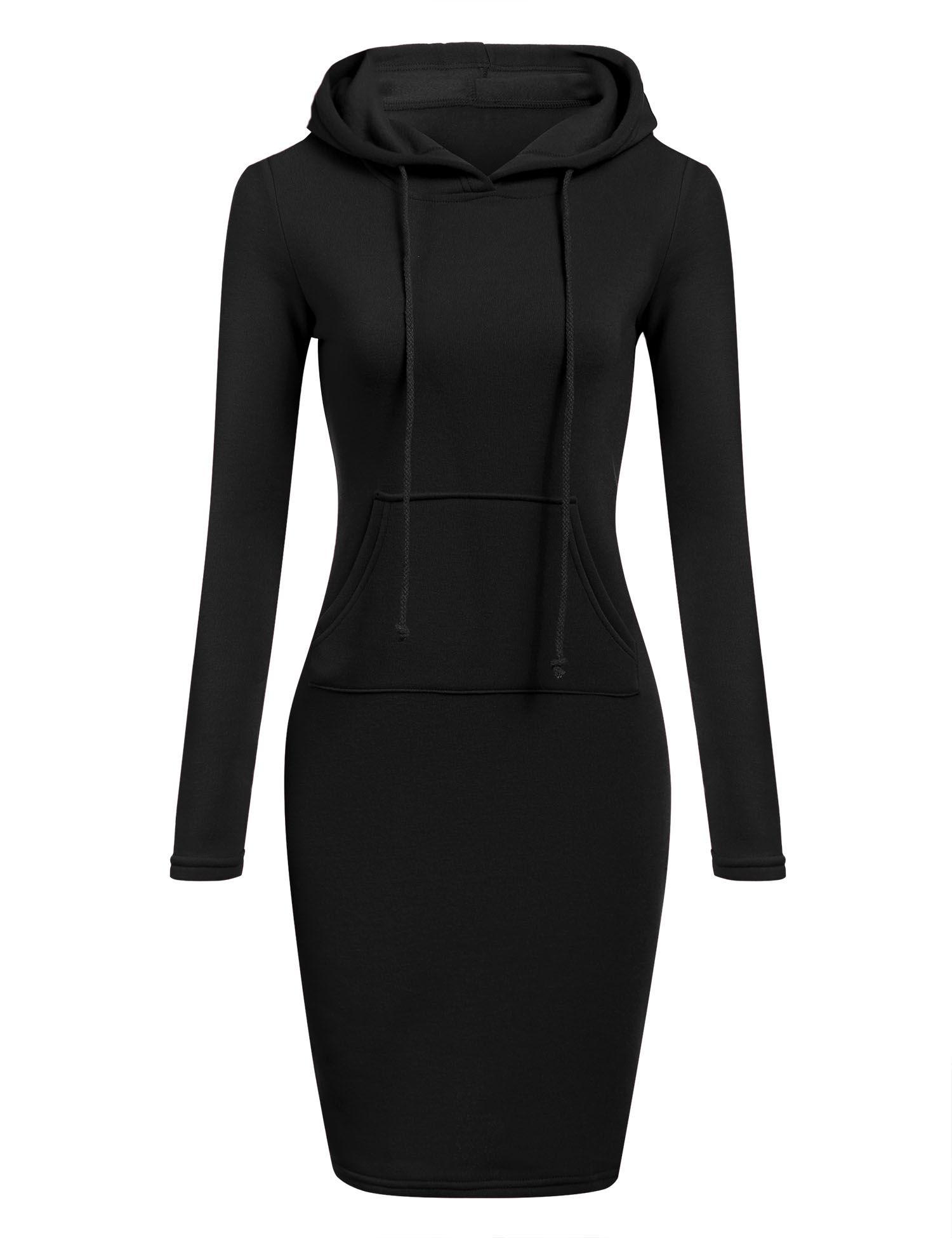 Black Slim Hooded Long Sleeve Solid Pencil Hoodie Casual Dresses Dresslink Com Womens Sweatshirt Dress Hoodie Dress Women Hoodies Sweatshirts [ 1950 x 1500 Pixel ]