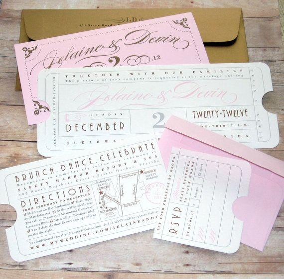 Formal Vintage Ticket Wedding Invitation Por Letterboxink En Etsy