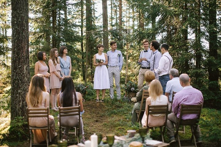 Neutral eco friendly wedding in the forest + the bride wears short wedding dress & mismatched bridesmaid dresses