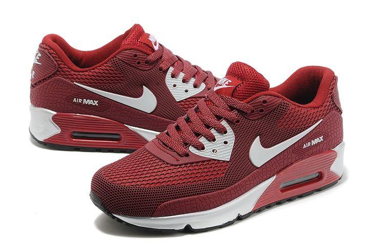 sports shoes 7c552 6311a Sklep Dobry Nike Air Max 90 KPU TPU Wino Czerwone Białe Buty Sportowe Dla  Mężczyzn z
