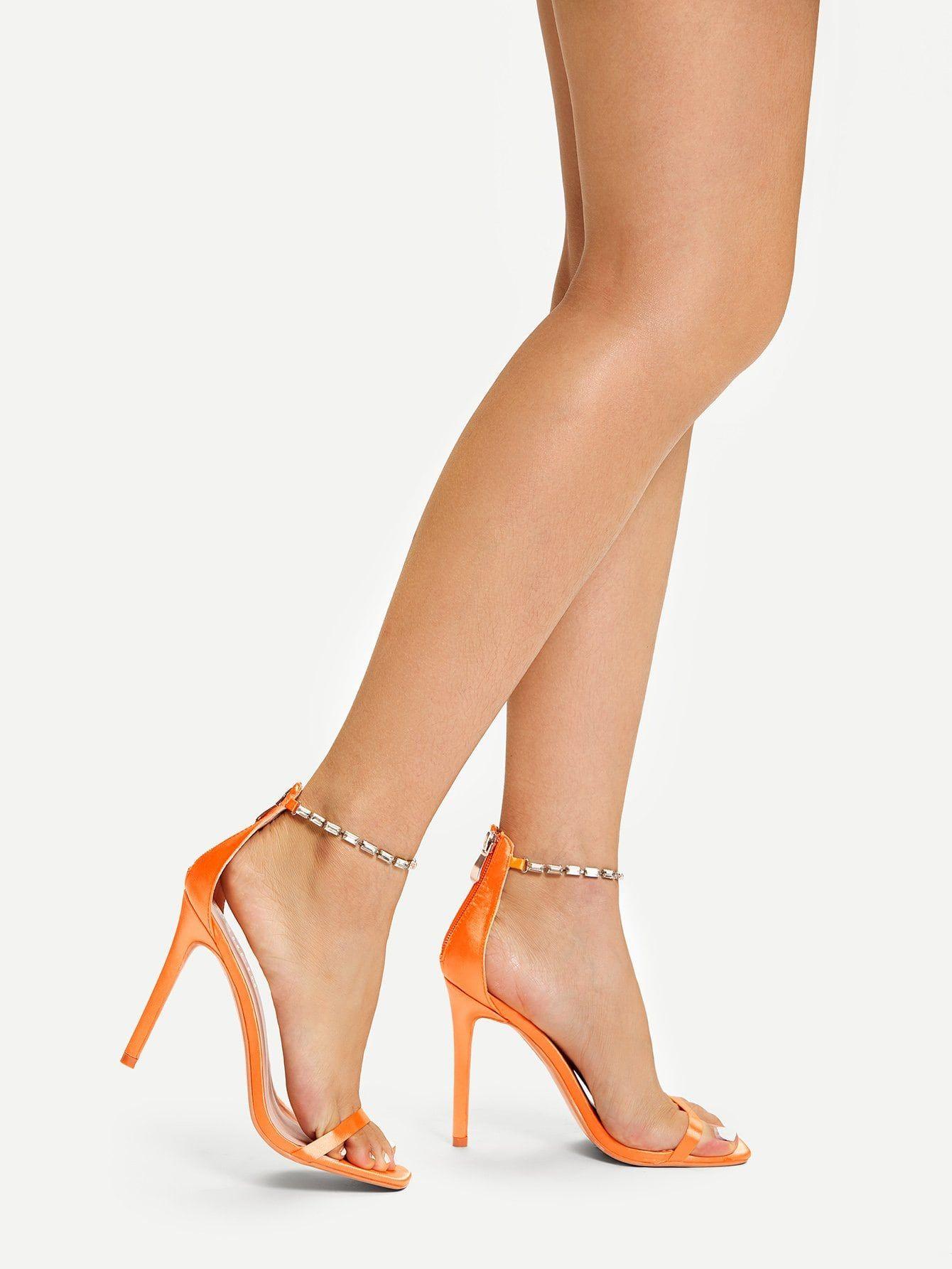 76174b37038 Elegant Square Toe and Open Toe Plain Ankle strap Orange High Heel ...