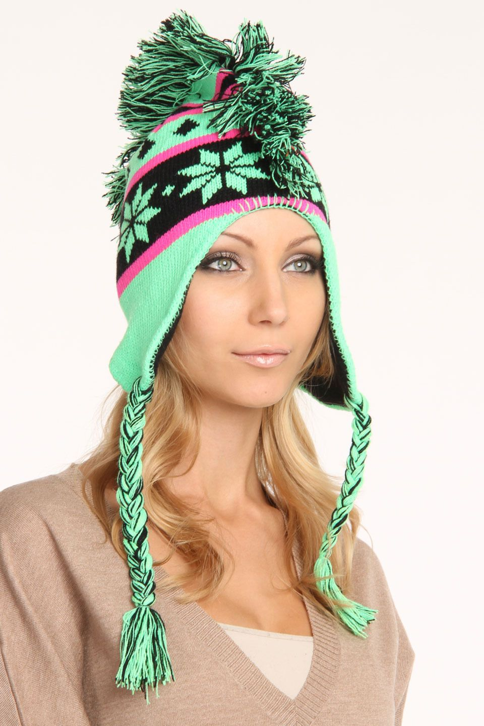 Courage neon snowflake mohawk hat fashion cutest accessories