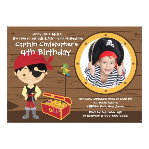 "Ahoy Mates Photo Pirate Birthday Party Invitations 5"" X 7"" Invitation Card"