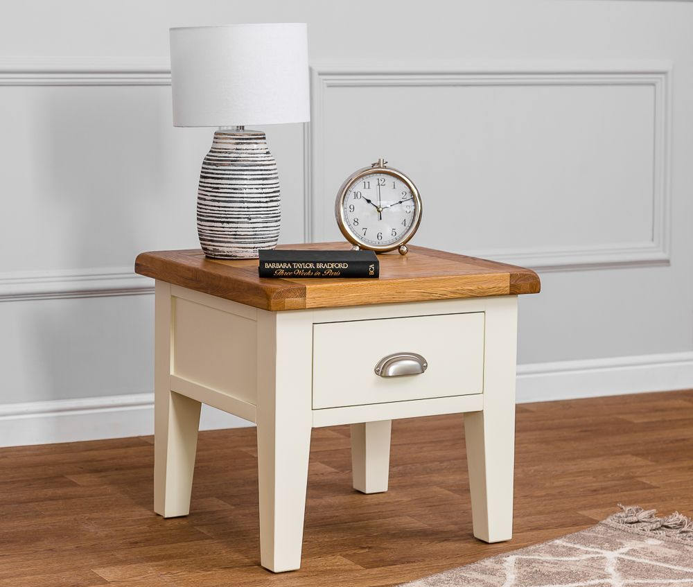 Hampshire Ivory Painted Oak Lamp Table | Ivory paint, Table