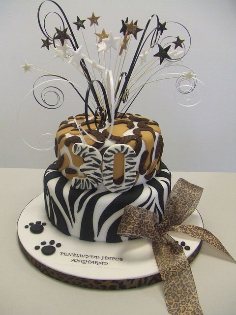 Zebra Print 30th Birthday Cake