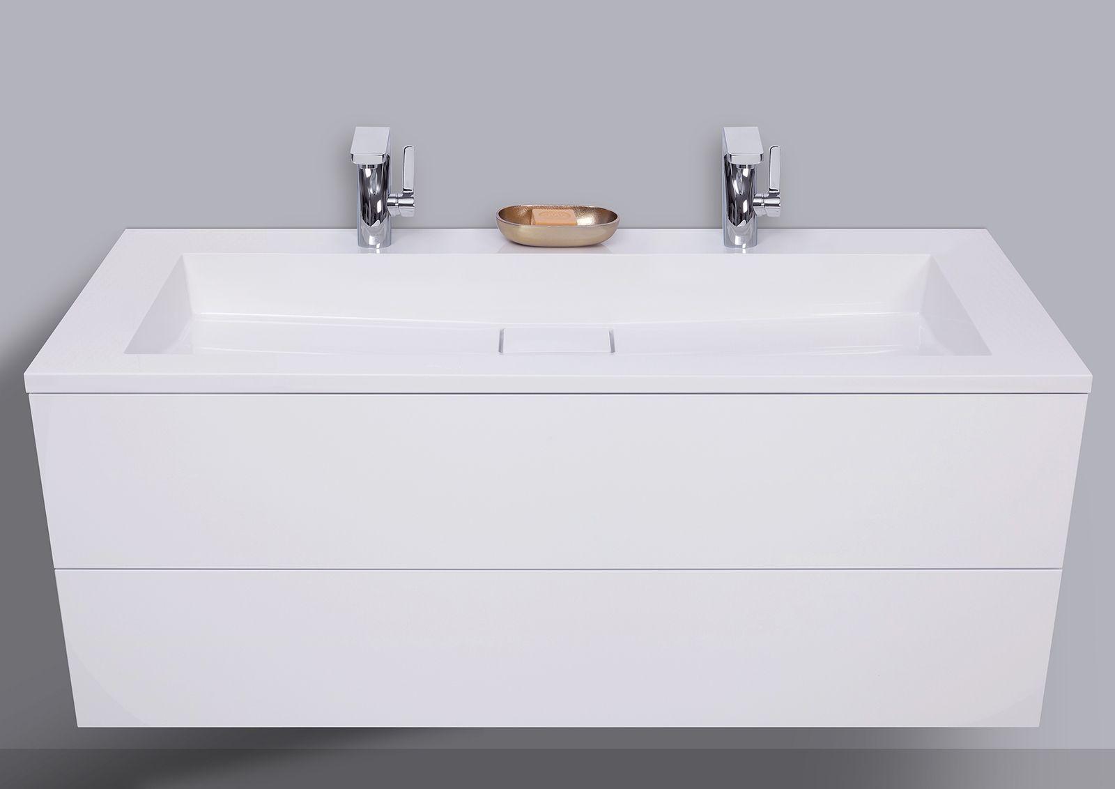 Badmobel Cubo Grifflos 120 Cm Doppelwaschtisch Mit Unterschrank Made In Germany Doppelwaschtisch Mit Unterschrank Unterschrank Doppelwaschtisch