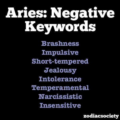 Negative keywords of Aries   Zodiac Signs - Aries ...