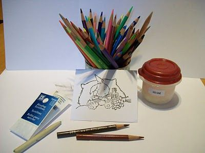 Colored pencils and baby oil