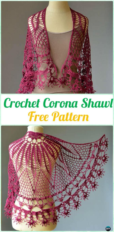 Crochet Corona Shawl Free Pattern - Crochet Women Shawl Sweater ...