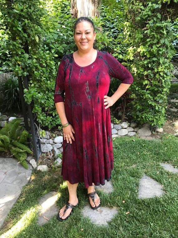 Tie Dye Dress Merlot /& Black Plus Size Maxi Womens Clothing Plus Size Maxi Dress Kimono Dress XL 2X 3x Plus Size Dress