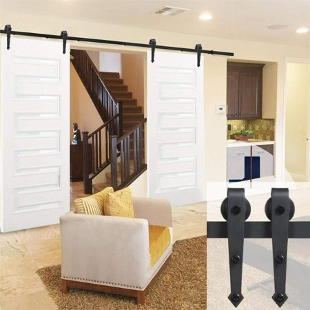 Sliding Barn Closet Door Hardware Track System Kit Set Black 2m Sliding Barn Door Closet Sliding Barn Door Hardware Barn Door Hardware