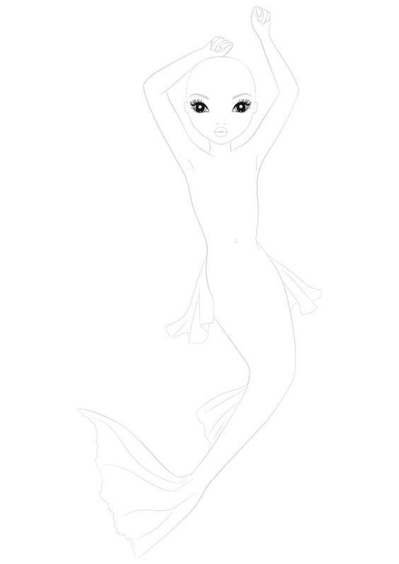 TOPModel Vorlage zum drucken Meerjungfrau  diy mit Kindern
