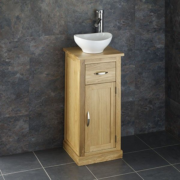 Images On cm Cube Solid Oak Space Saving Vanity Cloakroom Cabinet with Ceramic Basin
