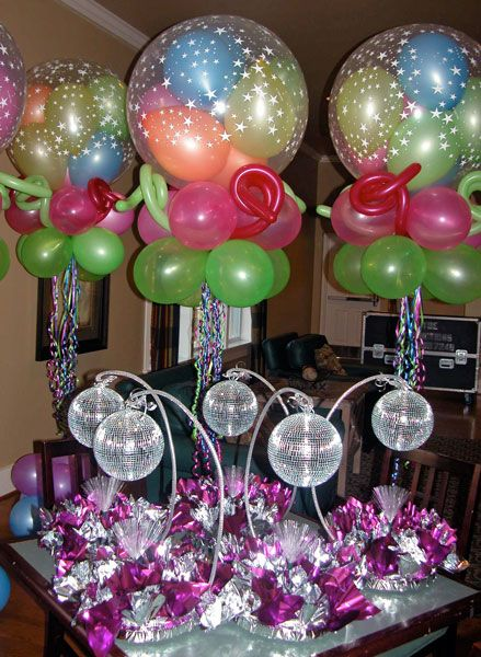 disco ball decorations disco centerpieces and gumball windsocks - Disco Party Decorations