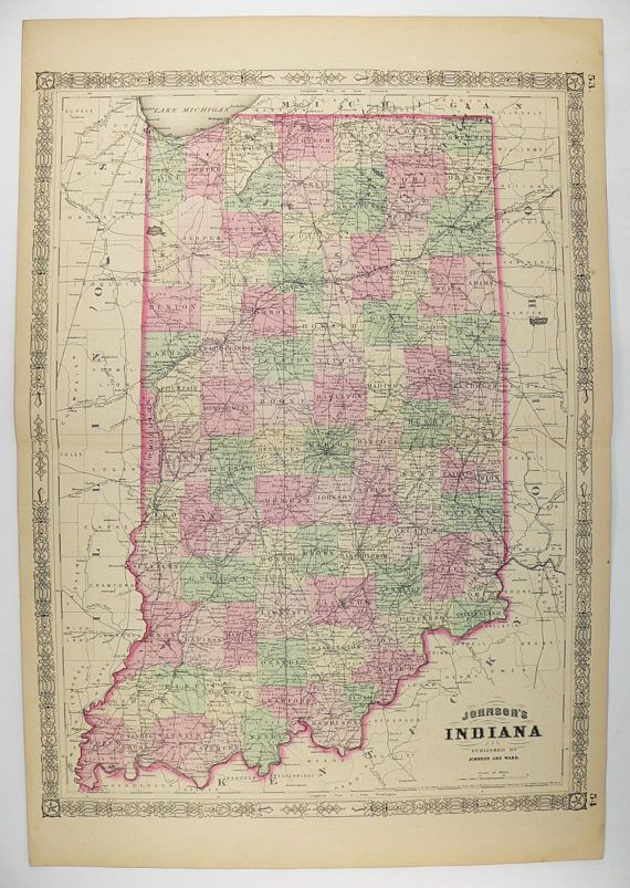 Large 1864 Johnson Map Of Indiana Original Hand Color Antique Map - Us-map-1864