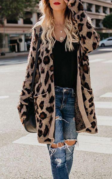 Black Leopard Open Front Long Sleeve Casual Sweater