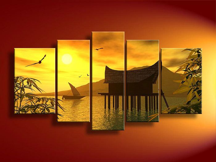 5 Panel Wall Art Landscape Orange Feng Shui Yellow Oil Painting On Canvas Orient Modern Living