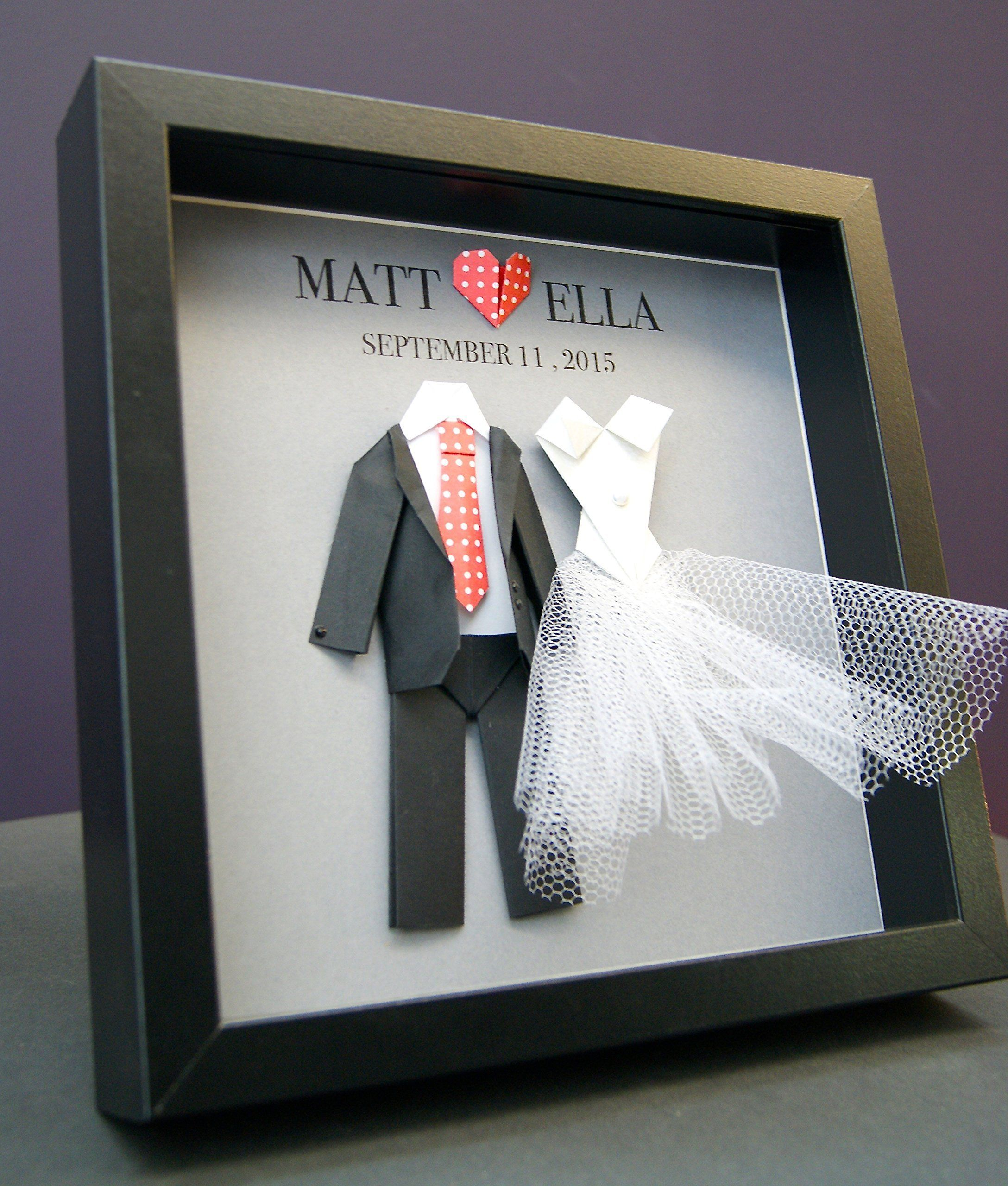 Origami Paper Bride Groom Wedding Engagement Anniversary Gift Shadowbox Frame This Personalized