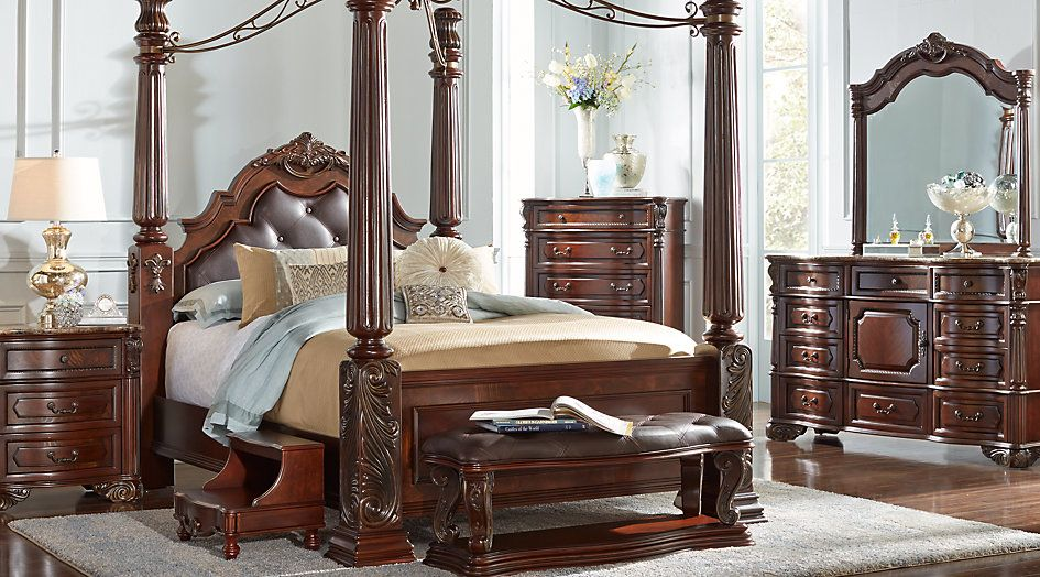 Southampton Walnut 6 Pc King Canopy Bedroom - King Bedroom ...