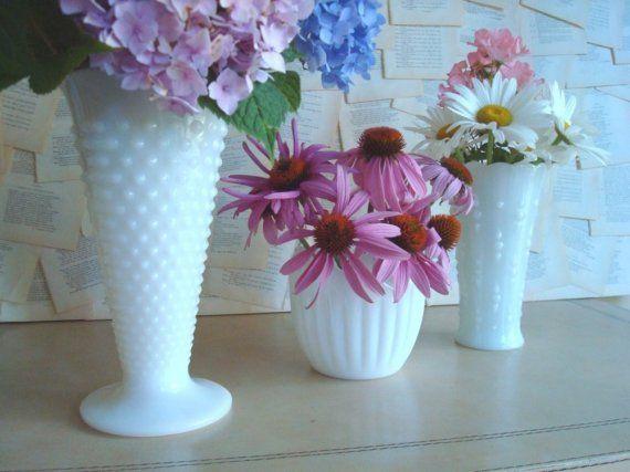 Three vintage milk glass vases and bowl by SunnyDayVintage on Etsy