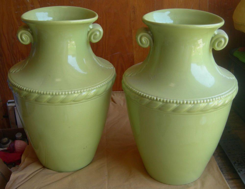 Pair Of Large 18 Abingdon Pottery Rope Floor Vases Abingdon