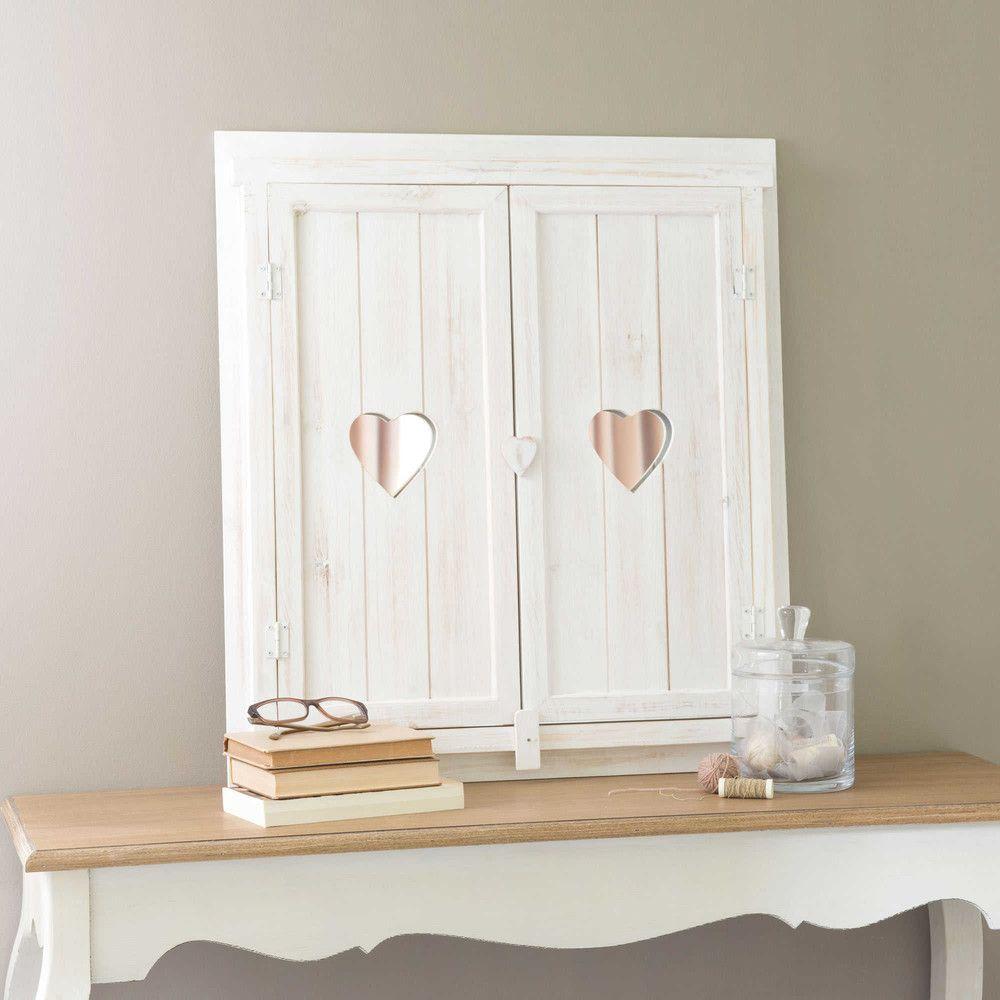 Miroir Fenêtre Avec Cœurs Blanchi 63x71 Maison De Campagne
