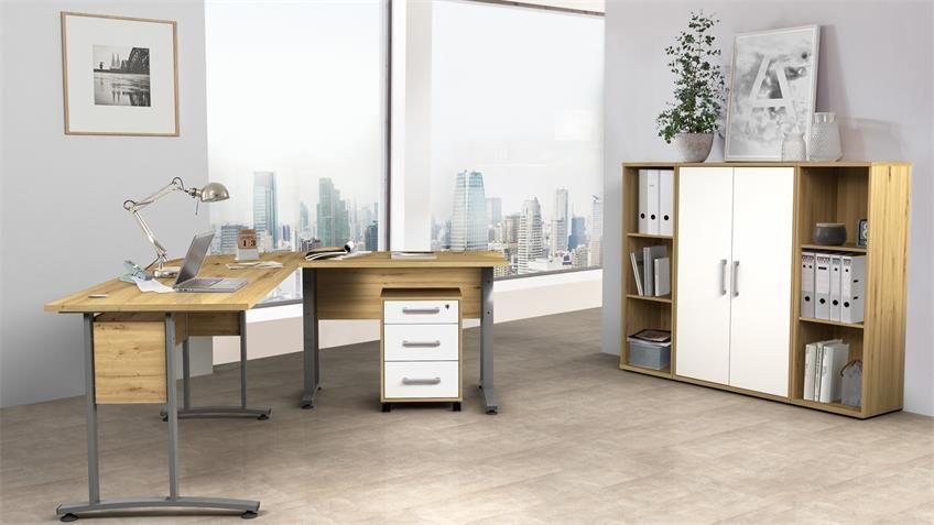 Buro Set 2 Dallas Arbeitszimmer Set Artisan Eiche 5 Tlg In 2020 Zimmer Wohn Mobel Buroausstattung