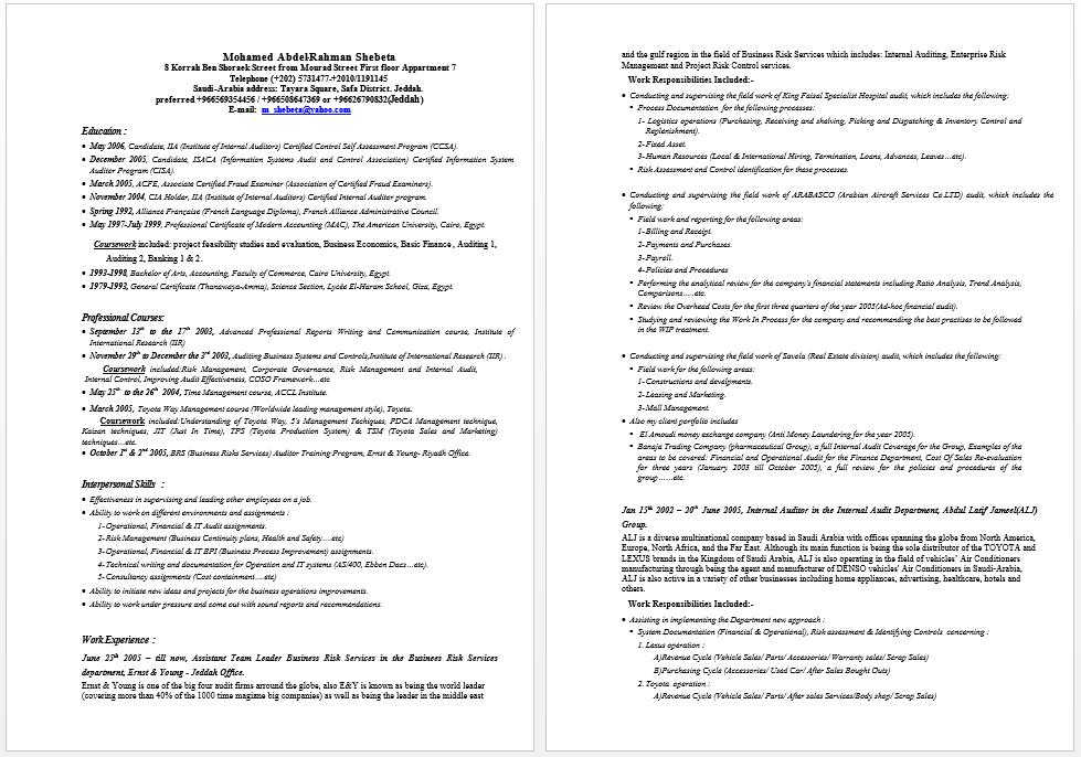 Certified Internal Auditor Resume Auditor Resume Resume Examples