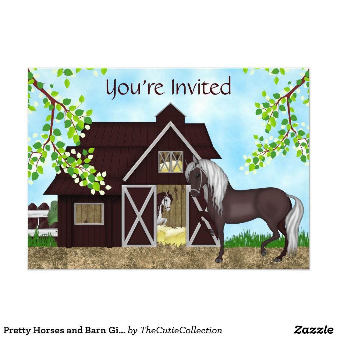 personalized pretty horses and barn girls birthday party invitation