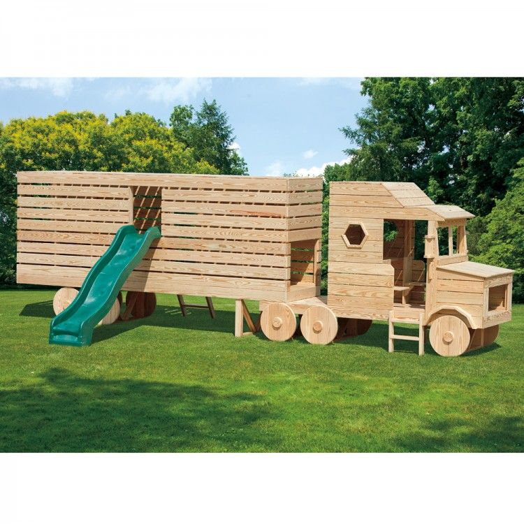 Amish Made 23x4 Ft Wooden Semi Truck Playground Set With
