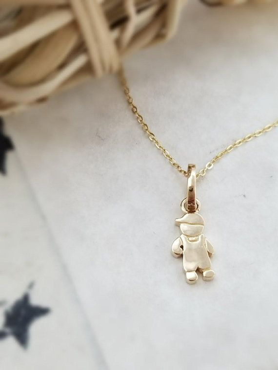 boy child charm little solid gold yellow pendant